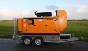 Udlejning af generator monteret på trailer.