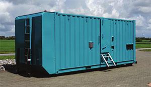 Udlejning af generator foregår blandt andet i container, med mulighed for wire eller kroghejs.