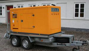 Udlejning af generator på en mindre, 2000 kg. trailer.